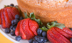 Add some fresh strawberries and blueberries with angel food cake for a colorful, healthy arrangement.