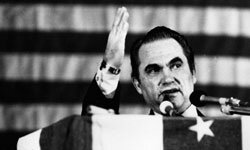 Former Alabama governor George Wallace campaigned against desegregation in 1968.