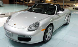 A Porsche Boxster sits on display at the 2005 North American International Auto Show in Detroit, Mich.