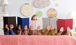 A book-themed children's party can easily be extended into a reading-focused sleepover.
