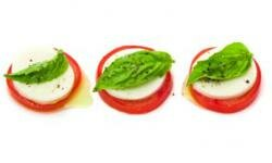 Tomatoes are integral to this caprese salad -- and a great garnish too.