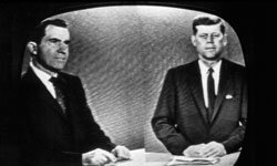Presidential candidates Richard Nixon and John F. Kennedy take part in the first televised presidential debate in 1960.