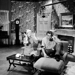 "Lucille Ball and Desi Arnaz on the set of their hit show ""I Love Lucy,"" one of the first sitcoms to be beloved by generations of viewers."