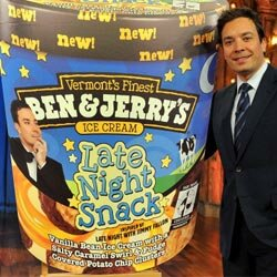 The ice cream company Ben and Jerry's is known for developing unique flavors with creative names. One of their latest flavors -- vanilla ice cream, salted caramel and chocolate-covered potato chip nuggets -- is inspired by the talk show Late Night with Jimmy Fallon.