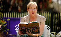"""J.K. Rowling, author of """"Harry Potter and the Sorcerer's Stone,"""" reads the book to eager children at the 2010 White House Easter Egg Roll in Washington, D.C."""