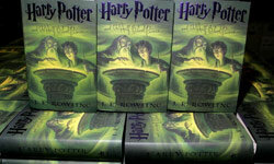 """Copies of """"Harry Potter and the Half-Blood Prince"""" sit in an Amazon.com warehouse in Nevada."""