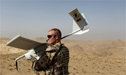 A NAV will be a lot smaller than the EMT Aladin airborne reconnaissance drone this German soldier is using for close area imaging during patrol on Oct. 17, 2010, in Afghanistan.