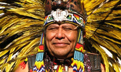 Shown here is an Aztec tribal elder. Though the Aztecs were known as fierce warriors, their culture also set the stage for universal education and modern sports.