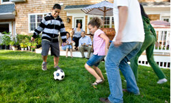 Your yard's a great place to play a soccer game, whether it's the classic version or a quirky variation.