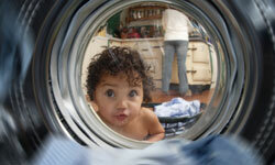 Because they have more laundry to do, families benefit most from front-loading washing machines and dryers.