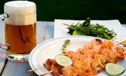 Many kinds of beer, such as ale, pair well with seafood.