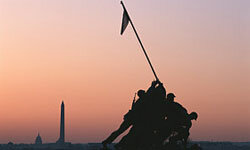 The subject of this bronze memorial in Washington, D.C., took place in the early days of battle at Iwa Jima.