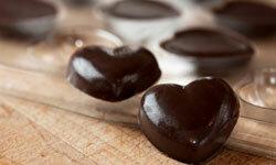 Dark chocolate hearts for the dark chocolate lover