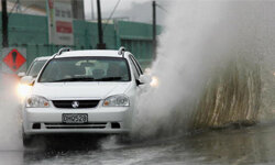 Motorways flood after torrential rain and gale force winds hit Wellington, New Zealand, in 2006.