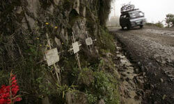 A van descends past a series of crosses marking the site of fatal accidents on the most dangerous road in the world -- Old Yungas.