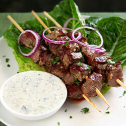 Although lamb is the classic pairing with tzatziki, you could substitute beef or pork.