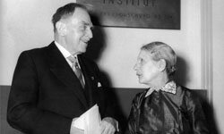 Physicist Lise Meitner with her research partner Otto Hahn