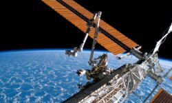 Solar panels help keep things powered up on the International Space Station.