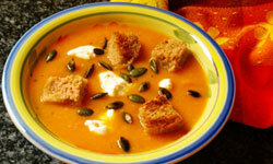 Pumpkin soup is a healthy first course for Thanksgiving dinner.