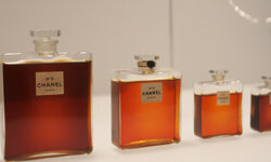 Bottles of Chanel No. 5 on exhibit in the Metropolitan Museum of Art