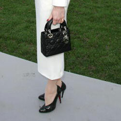 Dita Von Teese ties together her black and white ensemble with a tiny Lady Dior bag.