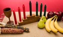 The size and shape of Kwanzaa candles don't matter, but the order of the colors does.