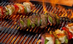 Serve up kabobs made with beef, chicken or salmon.
