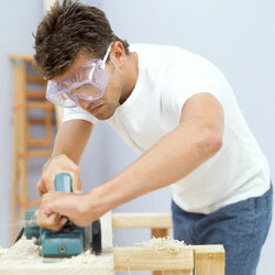 Goggles are a must when you're working with a circular saw.