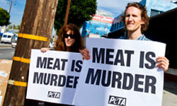 Modern vegetarians protesting for animal rights would've made Symon Gould proud.