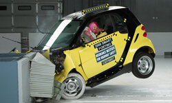 This photo provided by the Insurance Institute for Highway Safety shows a frontal offset crash test of a 2008 Smart Fortwo.