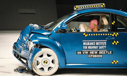 This photo released by the Insurance Institute for Highway Safety, shows Volkswagen's Beetle after a crash test in Ruckersville, Va.