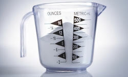 Someone put dry ingredients in this liquid measuring cup. Not good.