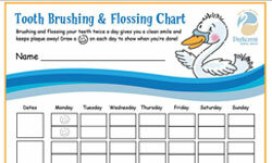 A chart like this is good visual reminder for kids to floss.