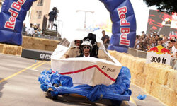 Soapbox racers participate at the Red Bull Soapbox Race in downtown Los Angeles on September 26, 2009 in Los Angeles, Calif.