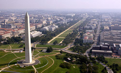 Washington, D.C., features green space and diagonal streets that make walking easier.