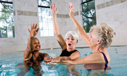 You probably know that aerobic exercise is a must for heart health, but did you know that water aerobics provides the same benefits without stressing your joints? See more healthy aging pictures.