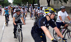 During the 2008 National Bike Month in Houston, Texas, residents were encouraged to ride bikes to work.