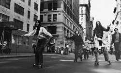 These New Yorkers celebrated Earth Day 1970 by roller-skating to work.