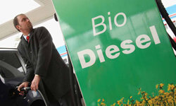 A man fills his car's tank with gasoline at a gas station that also sells biofuels on April 7, 2008 in Berlin, Germany.