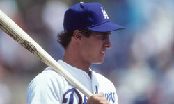 Infielder Steve Sax of the Los Angeles Dodgers is ready to bat during spring training, 1984.