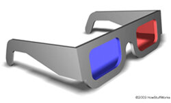 Two images were displayed on 3-D movie screen, one red and one blue. Glasses like these only allowed one color image to reach each eye, and the brain would separate the layers.