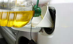 Recycled cooking oil is one waste product being used as fuel.