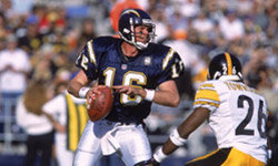 Chargers quarterback Ryan Leaf prepares to throw a pass against the Pittsburgh Steelers in December 2000.