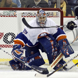 Islanders goalie Rick DiPietro in action against the Pittsburgh Penguins in February 2011.