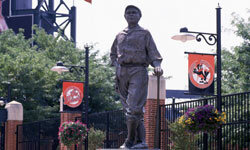 Most people associate Babe Ruth with the Red Sox or the Yankees, but Babe Ruth also played for Baltimore, and his statue stands outside of Camden Yards.
