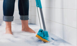 A mop also comes in handy when you get a little overzealous filling up your tub.