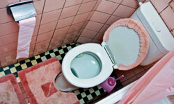 This bathroom looks a little tight -- and a little too pink.