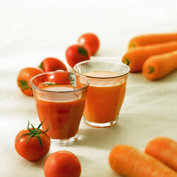 Tomato and carrot juices can be used for cooking or enjoyed on their own.