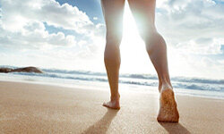 Exercise your foot muscles by taking a relaxing walk like this one.