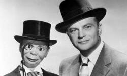 Headshot of American ventriloquist Edgar Bergen with his dummy Charlie McCarthy.